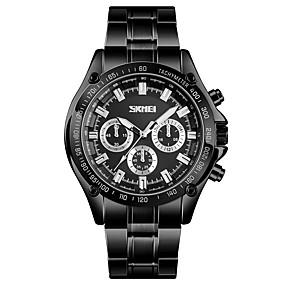Недорогие Фирменные часы-SKMEI Муж. Нарядные часы Наручные часы Кварцевый Нержавеющая сталь Черный / Серебристый металл 30 m Защита от влаги Повседневные часы Аналоговый Классика На каждый день Мода -  / Один год