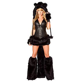 billige Daglige tilbud-Ulv Kvinder Hatte Kostume Voksne Dame Halloween Jul Jul Halloween Karneval Festival / Højtider Terylene Polyester Sort Karneval Kostume Dyr