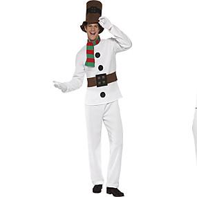 billige Daglige tilbud-Cosplay Kostumer Santa Clothe Teen Voksne Herre Dyredesign Jul Jul Nytår Festival / Højtider Polyester Hvid Karneval Kostume Ferie