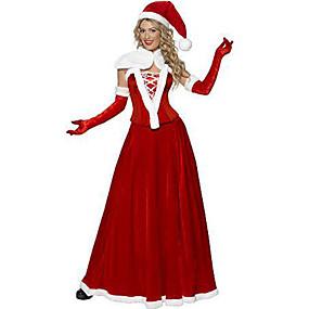billige Daglige tilbud-Cosplay Kostumer Santa Clothe Teen Voksne Dame Jul Jul Nytår Festival / Højtider Terylene Rød Karneval Kostume Ferie