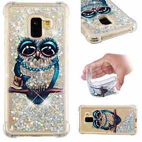 voordelige Galaxy A3(2016) Hoesjes / covers-hoesje Voor Samsung Galaxy A6 (2018) / A6+ (2018) / Galaxy A7(2018) Schokbestendig / Stromende vloeistof / Transparant Achterkant Uil / Glitterglans Zacht TPU