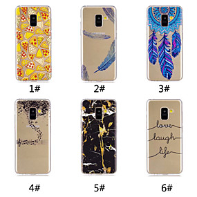 voordelige Galaxy A3(2016) Hoesjes / covers-hoesje Voor Samsung Galaxy A6 (2018) / A6+ (2018) / Galaxy A7(2018) Patroon Achterkant Voedsel / Woord / tekst / Veren Zacht TPU