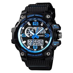 voordelige Merk Horloge-SKMEI Heren Sporthorloge Militair horloge Digitaal horloge Digitaal Silicone Zwart / Bruin / Groen 50 m Alarm Chronograaf Drie tijdzones Analoog-Digitaal Informeel Modieus - Blauw Zwart / Blauw Blauw