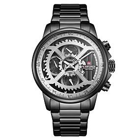 voordelige Merk Horloge-NAVIFORCE Heren Sporthorloge Skeleton horloge Militair horloge Japans Japanse quartz Oversized Roestvrij staal Zwart / Goud / Blauw 30 m Waterbestendig Kalender s Nachts oplichtend Analoog Luxe