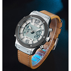 voordelige Merk Horloge-ASJ Heren Sporthorloge Digitaal horloge Japans Japanse quartz Echt leer Zwart / Bruin 100 m Alarm Vrijetijdshorloge Analoog-Digitaal Informeel Modieus - Zwart Bruin Twee jaar Levensduur Batterij