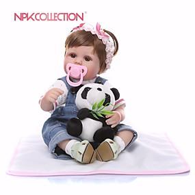 olcso Babák és töltött játékok-NPKCOLLECTION Reborn Dolls Lány babák 18 hüvelyk Ajándék Bájos Mesterséges beültetés barna szemek Gyerek Lány Játékok Ajándék