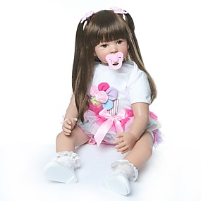 olcso Babák és töltött játékok-NPKCOLLECTION Reborn Dolls Lány babák 24 hüvelyk Ajándék Kézzel készített Mesterséges beültetés barna szemek Gyerek Lány Játékok Ajándék