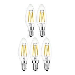 ieftine Becuri LED Lumânare-5pcs 4 W Becuri LED Lumânare 400 lm E14 4 LED-uri de margele Încântător Soft Filament Alb Cald 220-240 V