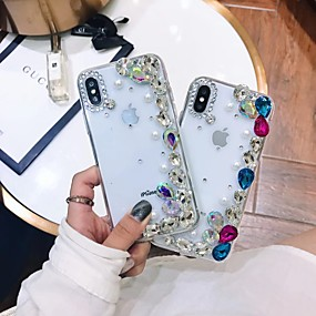 billige Apple-tilbehør-Etui Til Apple iPhone XR / iPhone XS Max Rhinsten / Transparent / GDS Bagcover Rhinsten Blødt TPU for iPhone XS / iPhone XR / iPhone XS Max