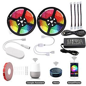 billige LED-stripelys-KWB 2x5M Lyssett / RGB-lysstriper / Smart Lights 600 LED SMD5050 1 12V 6A adapter / 1Sett monteringsbrakett / 1 til 2 kabelkontakt RGB Vanntett / APP-kontroll / Kuttbar 100-240 V 1set