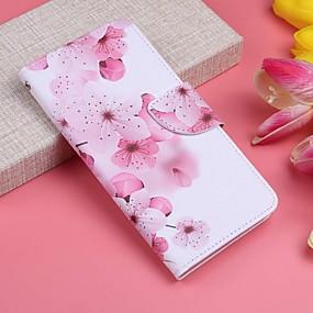 voordelige Galaxy J3 Hoesjes / covers-hoesje Voor Samsung Galaxy J7 (2017) / J6 / J6 (2018) Portemonnee / Kaarthouder / met standaard Volledig hoesje Bloem Hard PU-nahka