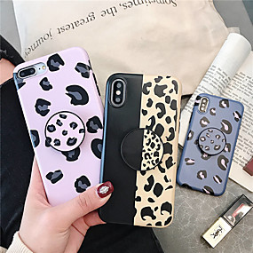 olcso iPhone 7 Plus tokok-Case Kompatibilitás Apple iPhone XR / iPhone XS Max Állvánnyal / Ultra-vékeny Fekete tok Leopárd minta Puha TPU mert iPhone XS / iPhone XR / iPhone XS Max