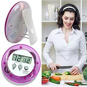 ieftine Ustensile Bucătărie & Gadget-uri-rotundă formă digitală lcd cronometru cronometru bucătărie ceas deșteptător