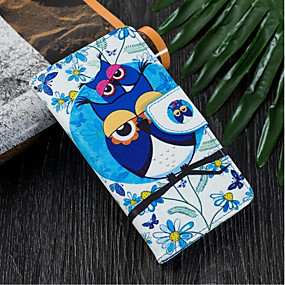 voordelige Galaxy J3 Hoesjes / covers-hoesje Voor Samsung Galaxy J6 (2018) / J5 (2017) / J4 (2018) Portemonnee / Kaarthouder / met standaard Volledig hoesje Uil Hard PU-nahka
