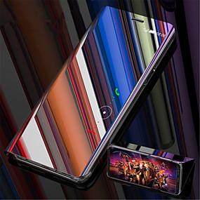 voordelige Galaxy S7 Hoesjes / covers-hoesje Voor Samsung Galaxy S9 / S9 Plus / S8 Plus met standaard / Beplating / Spiegel Volledig hoesje Effen Hard Muovi