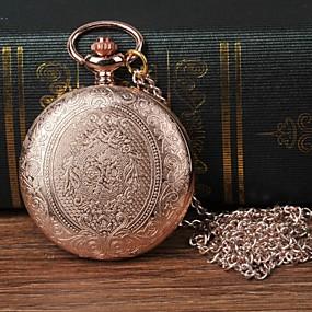זול תכשיטים-בגדי ריקוד גברים שעון כיס קווארץ זהב ורד שעונים יום יומיים צג גדול אנלוגי פרח אופנתי - זהב ורד