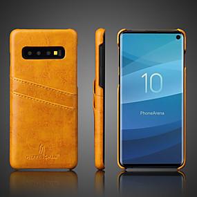 halpa Galaxy S -sarjan kotelot / kuoret-Fierre Shann Etui Käyttötarkoitus Samsung Galaxy Galaxy S10 / Galaxy S10 Plus Korttikotelo / Iskunkestävä Takakuori Yhtenäinen Kova aitoa nahkaa varten S9 / S9 Plus / S8 Plus