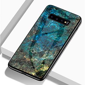 halpa Galaxy S -sarjan kotelot / kuoret-Etui Käyttötarkoitus Samsung Galaxy Galaxy S10 / Galaxy S10 Plus Iskunkestävä / Kuvio Takakuori Marble Kova TPU / Karkaistu lasi varten S9 / S9 Plus / S8 Plus