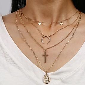 billige Lagvise halskjeder-Dame lagdelte Hals Chrome Gull 45+8 cm Halskjeder Smykker 1pc Til Gave Daglig Arbeid Love Festival