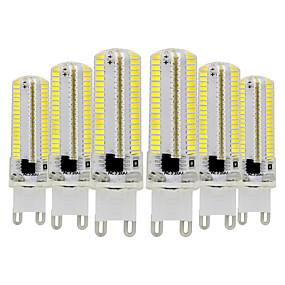 abordables Luces LED de Doble Pin-ywxlight® 6pcs g9 bulbo de maíz de silicona regulable 3014 smd 152led ahorro de energía lámpara 7w (70w halógena equivalente) bombilla led para iluminación doméstica 110-130v 220-240v