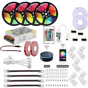 ieftine Benzi Lumină LED-kwb controler de putere wifi fără fir kit inteligent controlate 5050 20m (4x5m) rgb impermeabil 12v 20a de alimentare și 1set de montare bracket funcționează cu android și ios sistem google asistent