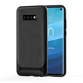 halpa Galaxy S -sarjan kotelot / kuoret-Etui Käyttötarkoitus Samsung Galaxy Galaxy S10 / Galaxy S10 E Iskunkestävä Takakuori Yhtenäinen Pehmeä Hiilikuitu varten Galaxy S10 / Galaxy S10 Plus / Galaxy S10 Lite