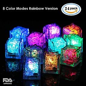 ieftine Lumini & Gadget-uri LED-24pcs albastru / roșu / verde / roz / galben / rgb / alb cuburi de gheață conduse lumina petrecere nunta Crăciun bar restaurant
