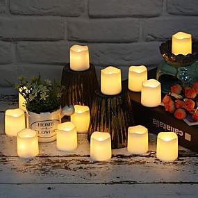ieftine Lumini Nocturne LED-12 pachet de baterii operate fără flacără pâlpâitoare lumânări votive cu LED-uri de la distanță condus de lumini decorative pentru Halloween Crăciun petrecere de nuntă eveniment acasă bucătărie decora