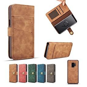 voordelige Galaxy S7 Hoesjes / covers-hoesje Voor Samsung Galaxy S9 / S9 Plus / S8 Plus Portemonnee / Kaarthouder / met standaard Volledig hoesje Effen Hard PU-nahka / aitoa nahkaa