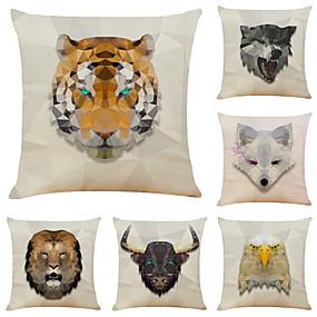 baratos Casa & Cozinha-Conjunto de 6 animais quadrados de linho animais de treliça decorativas fronhas sofá capas de almofada 18x18