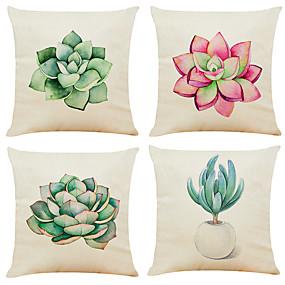 baratos Casa & Cozinha-Conjunto de 4 suculentas cactus linho quadrado decorativo lance fronhas capas de almofada do sofá 18x18