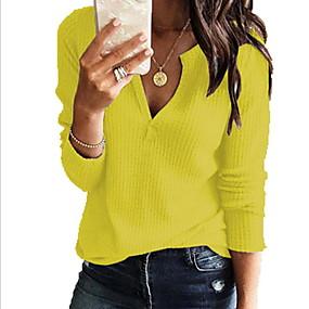 cheap Women's Sweaters-Women's Solid Colored Long Sleeve Pullover, V Neck Gray / Yellow / Wine XXXL / XXXXL / XXXXXL
