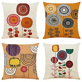 baratos Casa & Cozinha-Conjunto de 4 pintados à mão flor linho quadrado decorativo lance fronha sofá capas de almofada 18x18