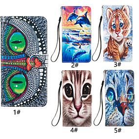 voordelige Galaxy J3 Hoesjes / covers-hoesje Voor Samsung Galaxy J8 (2018) / J7 (2017) / J6 (2018) Portemonnee / Kaarthouder / met standaard Volledig hoesje Kat / dier Hard PU-nahka