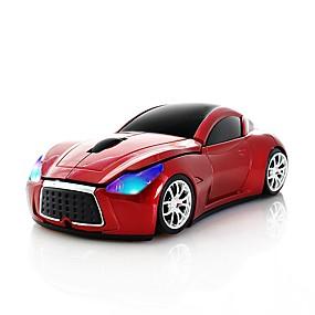 billige Mus og tastaturer-chuyi 2.4ghz kult sport bilform trådløs mus optisk trådløse mus med USB-mottaker for pc bærbar datamaskin 1600dpi 3 knapper rød
