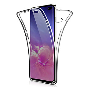 voordelige Galaxy S7 Edge Hoesjes / covers-360 dubbele siliconen case voor Samsung Galaxy S10 Plus S10 E S10 S9 Plus S9 S8 Plus S8 S7 Edge S7 Note 9 Note 8 Note 10 Plus Note 10 Transparant Clear Soft TPU Case Cover