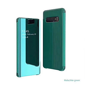 voordelige Galaxy S7 Edge Hoesjes / covers-hoesje voor samsung galaxy s9 / s9 plus / s8 plus / s10plus / s10 / note9 / 8 / a8plus 2018 / a6 2018 met standaard / spiegel / flip full body hoesjes effen gekleurd / lijnen / golven pc