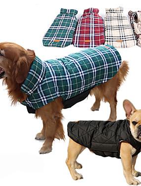 رخيصةأون مستلزمات الحيوانات الأليفة-كلب المعاطف / سترة ملابس الكلاب Plaid / Check بني / أحمر / أخضر قطن كوستيوم للحيوانات الأليفة رجالي / نسائي مقاومة الماء / الدفء / قابل للعكس