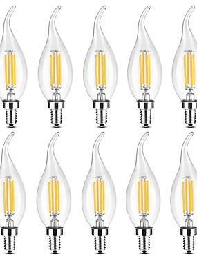 رخيصةأون مصابيح خيط ليد-YWXLIGHT® 10pcs 4 W 300-400 lm E14 أضواء شموغ LED / مصابيحLED C35 4 الخرز LED COB تخفيت أبيض دافئ / أبيض 220-240 V