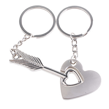 les amateurs de porte-clés inox (flèche à travers l'ensemble cœur / 2-pièces)