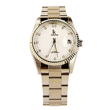 Classical Crystal Mechanical Luminous Watch with Calendar White