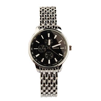 aço inoxidável relógio de pulso de quartzo para mulheres de prata + preto