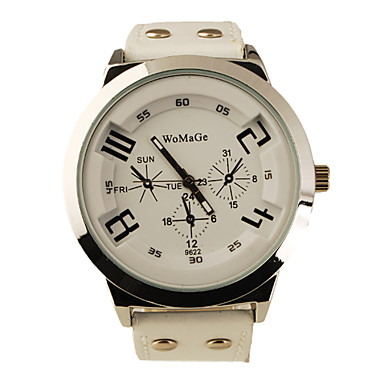 Fashion Korea PU Leather Band Style Handsome Quartz Men Women Wrist Watch - White Cool Watches Unique Watches