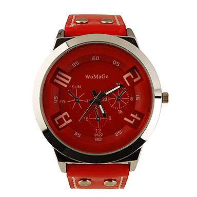 Fashion Korea PU Leather Band Style Handsome Quartz Men Women Wrist Watch - Red