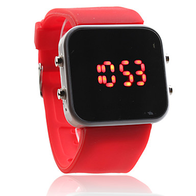 Silikonihihnainen puna-LED neliötauluinen digitaalikello (punainen)