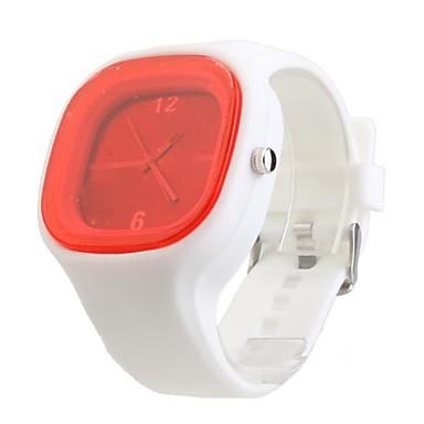 Orologio minimalista al quarzo con cinturino in silicone - Bianco