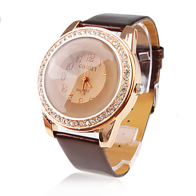 PU Leather Band Citrine Face Crystal Decorated Quartz Wrist Watch - Brown