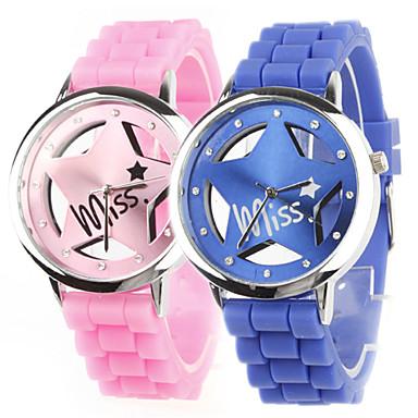 coppia di scavare stella schema orologi da polso al quarzo con decorazioni di design in cristallo - blu e rosa