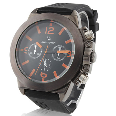 V6® Men's Casual Style Black Case Silicone Band Quartz Wrist Watch Cool Watch Unique Watch