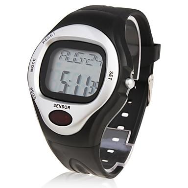 בגדי ריקוד גברים שעון יד דיגיטלי Alarm לוח שנה כרונוגרף מד דופק LCD גומי להקה שחור